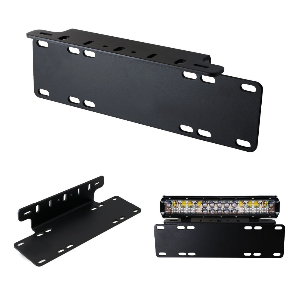 Marloo Universal Front Bumper License Plate Mounting Bracket Holder For Offroad LED Driving Work Light Bar Truck SUV 4x4 4WD
