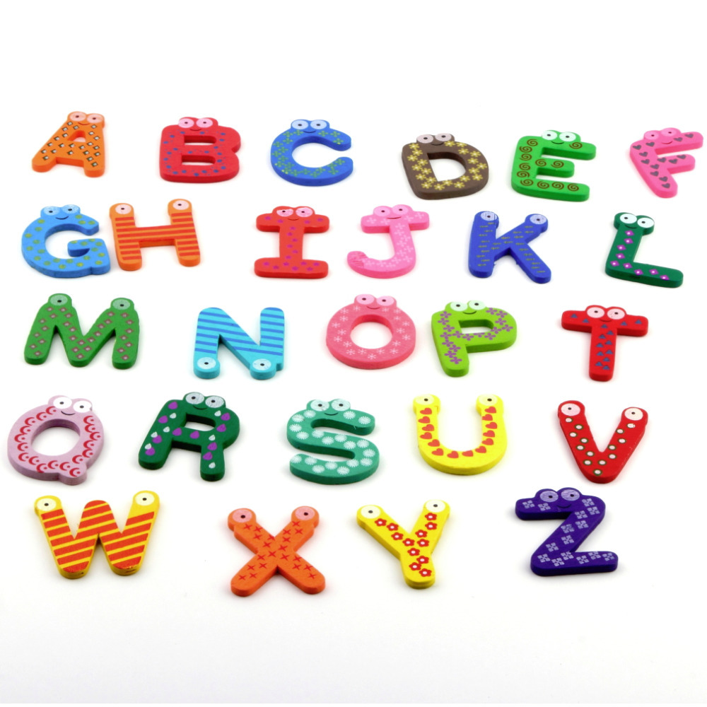 1set High Quality Fridge Wooden Magnet Baby /Child Toy A-Z ABC Educational Alphabet 26 Letters