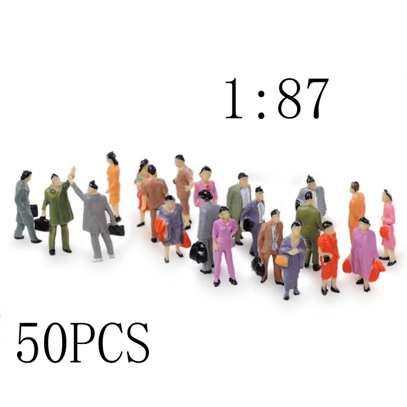 Scale Model-Train Park Street-Passenger-People-Figures Mini Mix 1:57 50pcs Painted title=