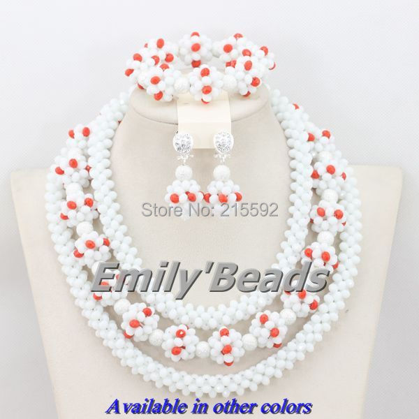 2015 Popular African Crystal Beads Jewelry Set White Nigerian Wedding/Party Bridal/Bridesmaid Jewelry Set Free Shipping AEJ244 graceful white african bridal beads jewelry set nigerian crystal rhinestone bridesmaid women wedding necklace free ship qw677