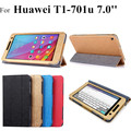2015 nuevo flip funda de cuero para huawei mediapad t1 7.0 t1-701 t1-701u tablet caso de la cubierta + protectores + stylus