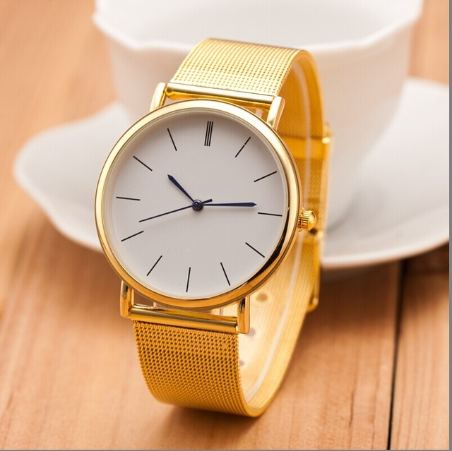 Hot selling Top brand Geneva luxury Metal mesh belt gold&Silver quartz watch simple fashion women watches clock men wristwatches hot luxury brand geneva fashion men women ladies watches gold stailess steel numerals analog quartz wrist watch for men women