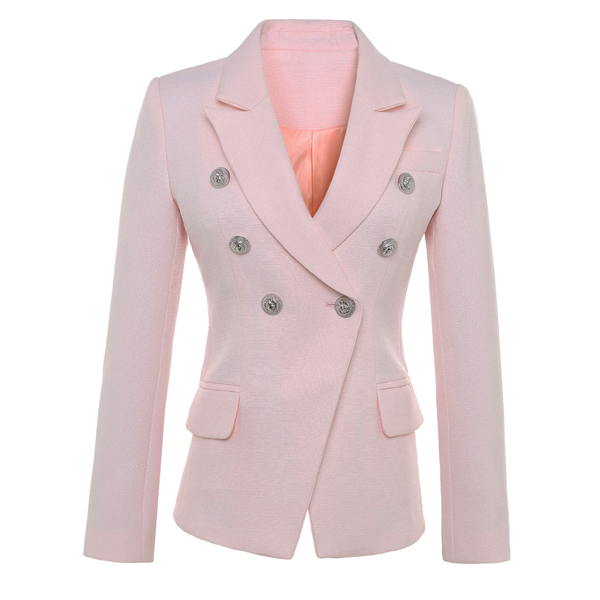 HIGH QUALITY New Fashion 2018 Runway Designer Blazer Jacket Women s Lion Buttons Double Breasted Blazer