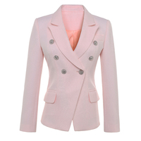 HIGH QUALITY New Fashion 2016 Runway Style Jacket Women S Gold Buttons Double Breasted Green Blazer