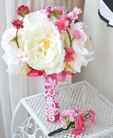 Handmade artificial flower wedding flower bride holding flowers peony