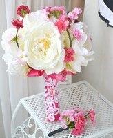 Handmade sztuczny kwiat wedding flower bride gospodarstwa kwiaty piwonii