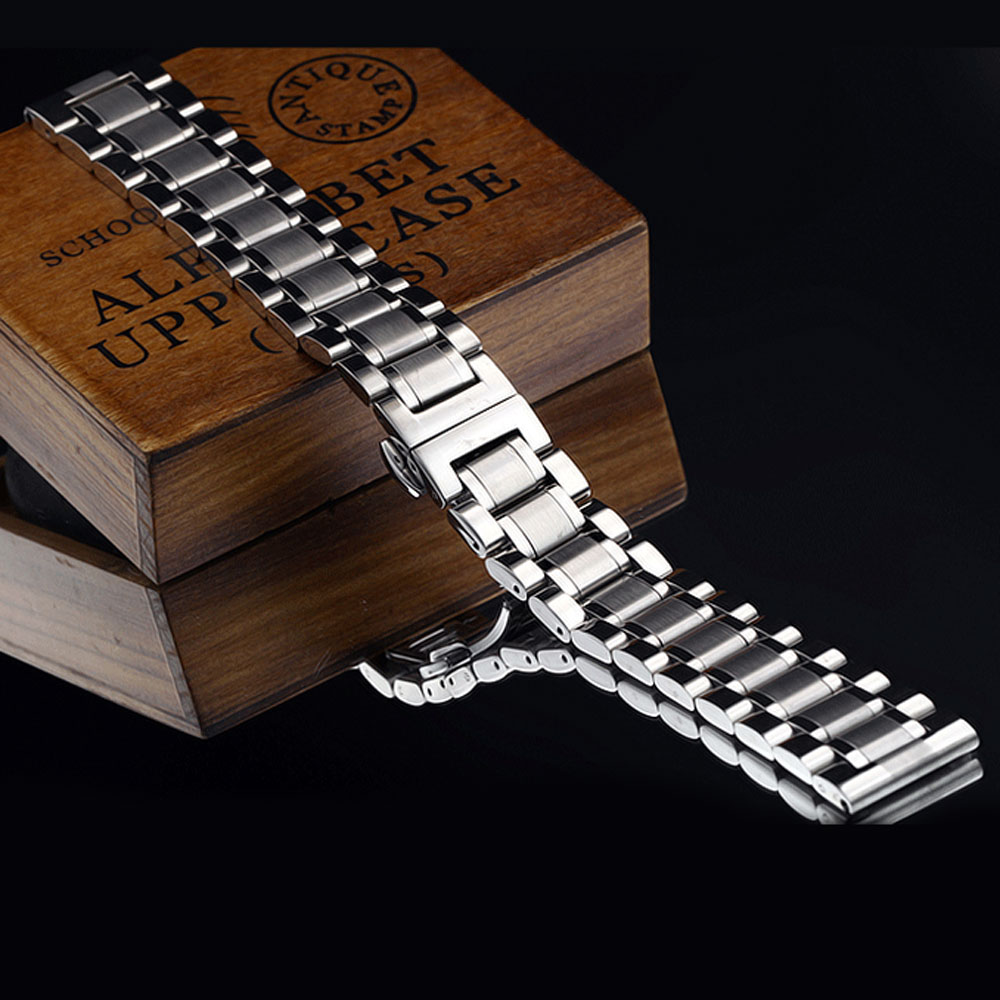 2016 New 18mm/19mm/20mm/22mm/24mm/26mm/28mm Silver Stainless Steel Watch Strap Band With 2 Spring Bars For Watches