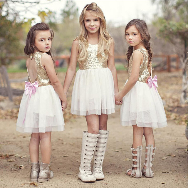Hot selling girls' love sequins and lace dresses, glittering party dresses, The princess's dream gift