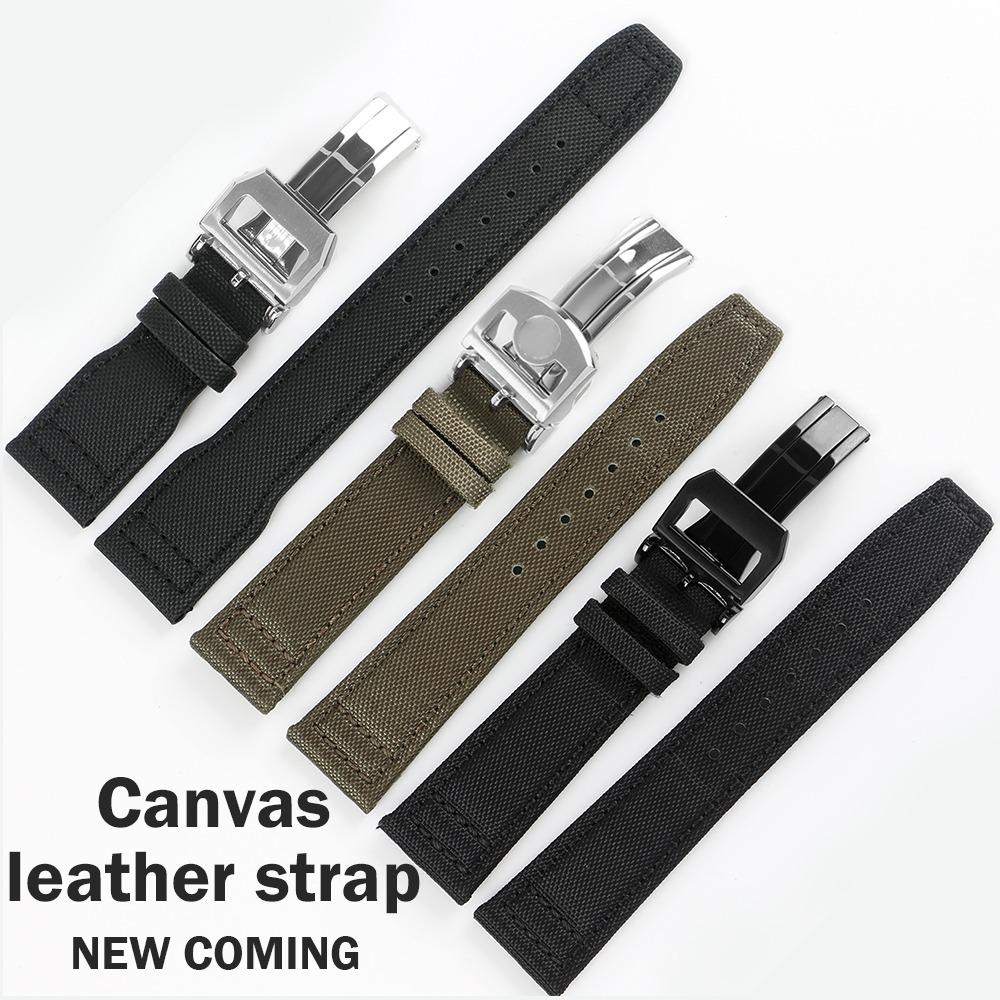 20mm 21mm 22mm Canvas Nylon Bands Folding Clasp for IWC PILOT Mark PORTOFINO WATCHES Folding Buckle Watches Accessories Tools