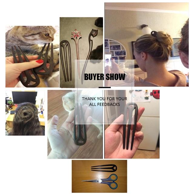 Hair Jewelry Hand-Carved Wood Sticks Hairpins U Shape Ebony Bridal Headwear hair comb hair  accessories hair ornaments