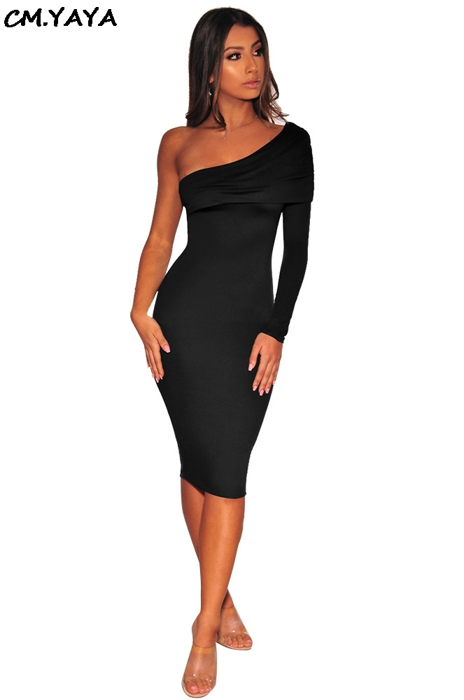 women sexy long sleeve one shoulder skew neck bodycon ...