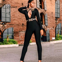 High Quality Black Long Sleeve Hollow Out Beaded Bodycon Rayon Bandage Jumpsuit Party Women Rompers