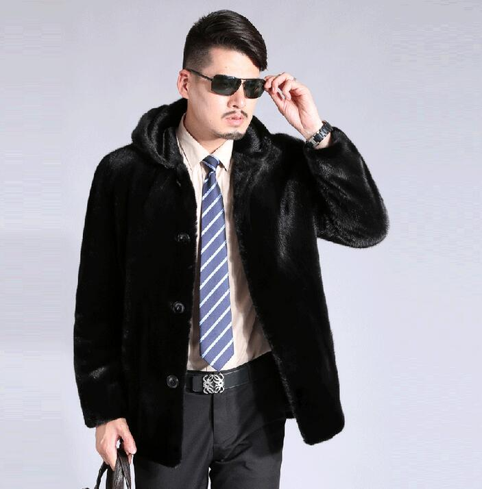 Winter autumn thicken thermal faux mink hair fur leather jackets men casual mens coats outerwear fashion hooded black plus size