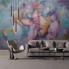 Custom wallpaper European-style hand-painted oil painting butterfly flying background wall advanced waterproof material