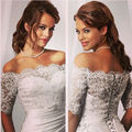 Inexpensive White Ivory Bride Wraps Jacket Bolero Women Shawl Half Sleeve Lace Wedding Accessories 2016 SA836