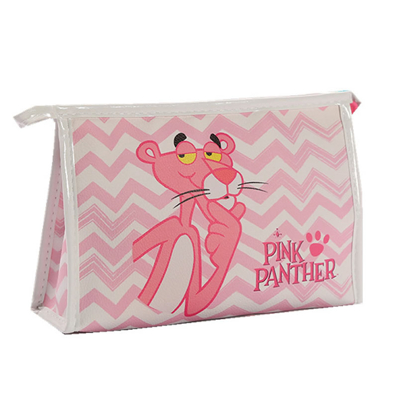 Women Cartoon Pink Panther Make Up Cosmetic Bag Travel PU Leather Toiletry Kit Bag Makeup Toiletry Pouch Organizer Wash Kit Box