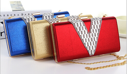 2017 fashion shine color women clutch hot sales party goldren chain shoulder bags dinner wedding ladies