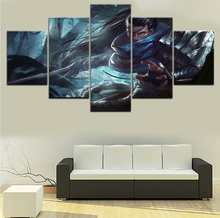 цена Home Decorative Game Poster Canvas HD Printed Wall Art Framework Paintings 5 Pieces League Of Legends Yasuo Modular Pictures онлайн в 2017 году