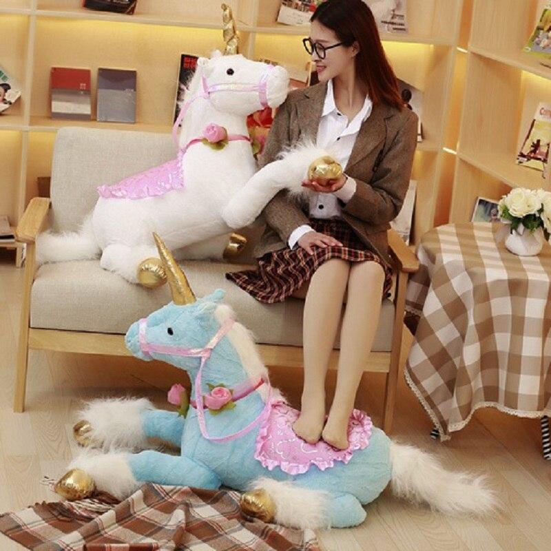 Grand 100 cm peluche licorne poupée peluche animaux en peluche blanc cheval poupée créative enfant cadeau poney cadeau d'anniversaire pour les filles
