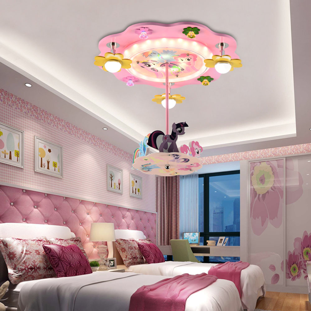 Carousel kids room pendant lights creative fashion cartoon led bedroom light princess girl room lighting in pendant lights from lights lighting on