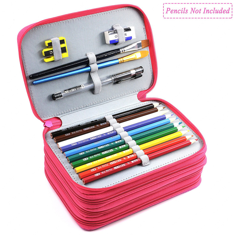 Kawaii 72 Holders 4 Layer Oxford Colored Pencil Bags Large Capacity Portable Watercolor Wrap Pencil Case