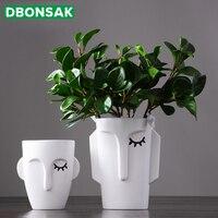 Nordic Creative Face Vase Decoration Home Ceramic Flower Pot Abstract Decoration Living Room Flower Arrangement Ornament Gifts