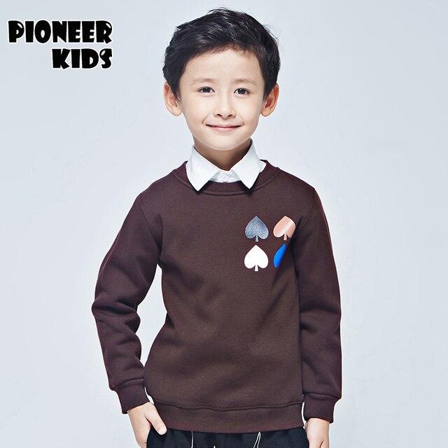 Pioneer Дети 2016 Мода Мальчики хлопок Повседневная С Длинным Рукавом Пуловеры Кофты Толстовки Топы, утолщаются мальчиков верхняя одежда, зимнее пальто.