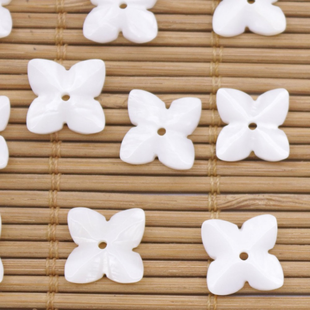 Купить с кэшбэком 10 PCS 11mm Shell Charms Natural White Mother of Pearl Jewelry Making DIY