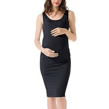 Tonlinker 2018 New Casual Maternity Clothing Pure Color Sexy Long Dress Sleeveless Summer Temperament Pregnant Clothes