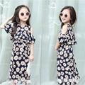 2016 Girls Summer Dress Korean Children Clothing Off Shoulder Short Sleeve Small Flower Print Casual Toddler Girl Dresses 2-8Y