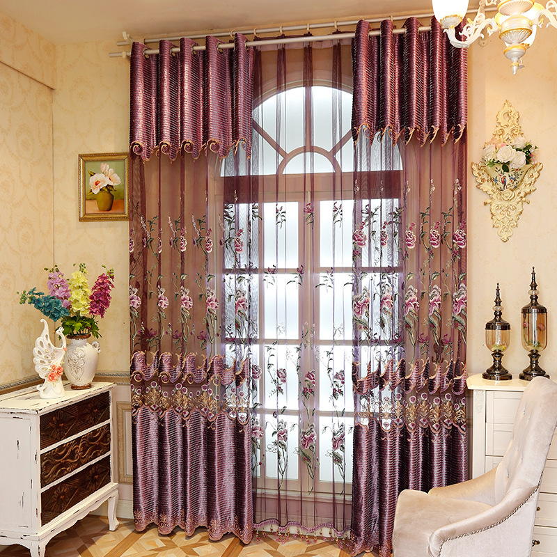 1 Pc Curtain And 1 Pc Tulle Peony Luxury Window Curtains: Europe Style Gorgeous Curtain For Living Room,embroidered