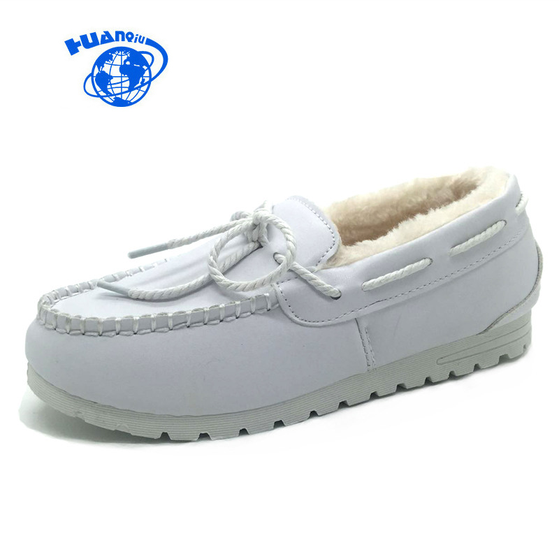 HUANQIU Winter White Nurse Shoes Doug Cashmere Women Shoes with Bowknot Black Shoes Warm Working Mother Flats Fur Lined 35-41 working mother