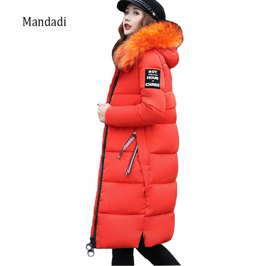 2018 Winter coat women long female parka women winter jacket Warm Cotton-padded Slim Fur Collar winter Coat Women Parkas