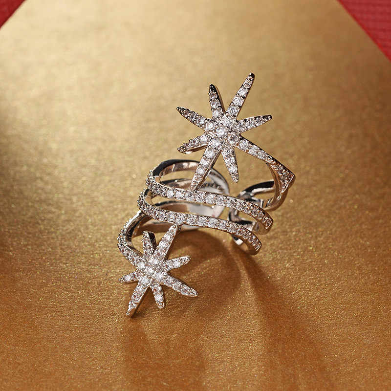Choucong Di Bintang Janji Cincin Putih Diisi Emas Micro Pave AAAAA CZ Pesta Pernikahan Cincin untuk Wanita Perhiasan Terbaik hadiah