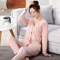 Весна Осень Зима Марка материнства пижамы Наборы Женщины Пижамы хлопка с V-образным Вырезом Полный Рукавом Pijamas Femininos одежда для беременных