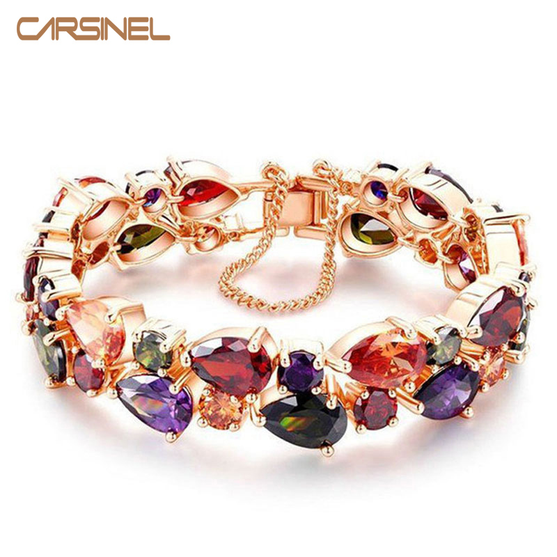 CARSINEL Trendy Charm CZ Bracelet Rose Gold color Mona Lisa Bangle Colorful Love Friendship Bracelet for Women Jewelry Wholesale