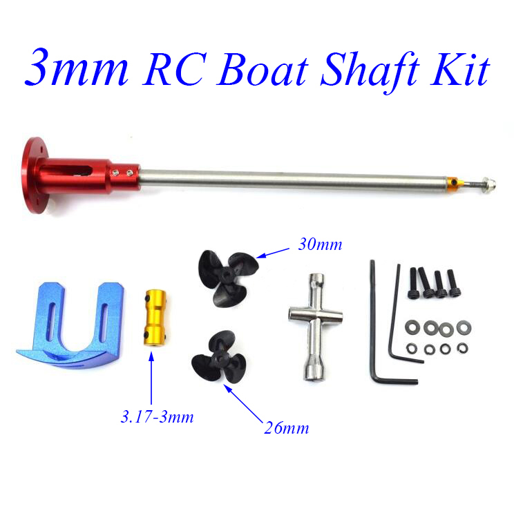 Free Shipping 3mm RC Boat Shaft Kit With 540 Motor Shaft Fixing Holder Mount Bracket Coupling Screw Length 220/270mm Spare Parts 3mm rc boat shaft set 100 150 200 250mm motor drive shaft with coupler propeller screw drive dog spare parts
