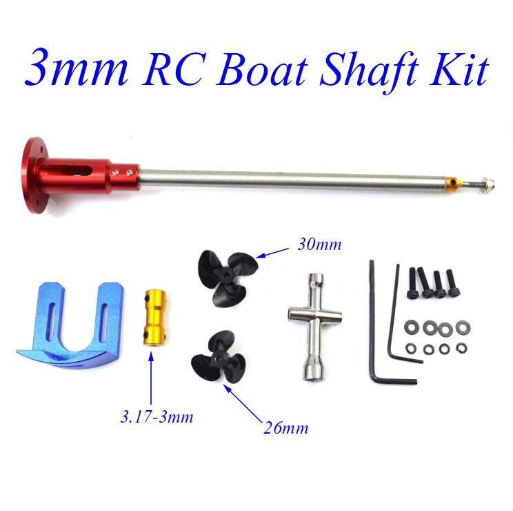 Livraison gratuite 3mm RC bateau arbre Kit avec 540 moteur arbre fixation monture pour support support couplage vis longueur 220/270mm pièces de rechange
