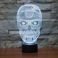 Cool 3D Face Mask Night Light Stereo Vision Lamp 7 Colors Changing LED USB Bedroom Bedside