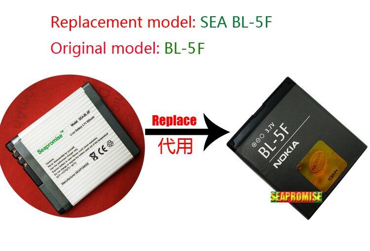 Atacado 10PCS bateria BL-5F N95 6210N BL5F para nokia 6210S 6210S 6260S 6290 6710N E65 N93I N95 N96 N98 N99. ..