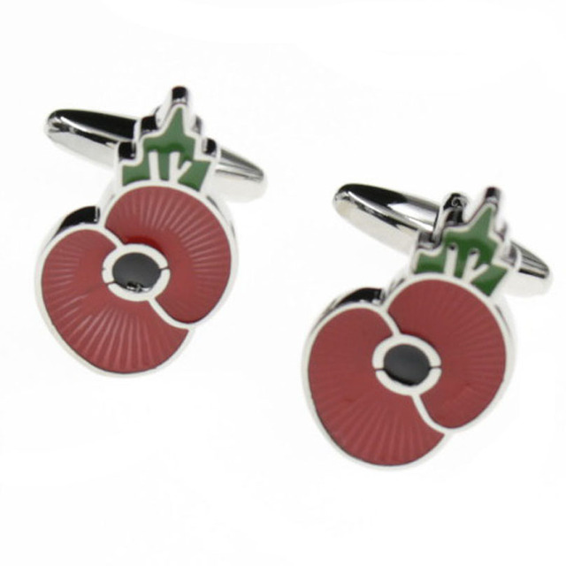 Top Romantic Red Poppy Flower Cufflinks Mens Cuff Links