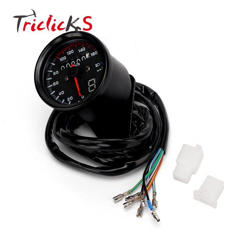 Triclicks 0 160km h LED Backlight Signal Motorcycle Odometer KMH Speedometer Gauge Cafe Racer Bobber Chrome