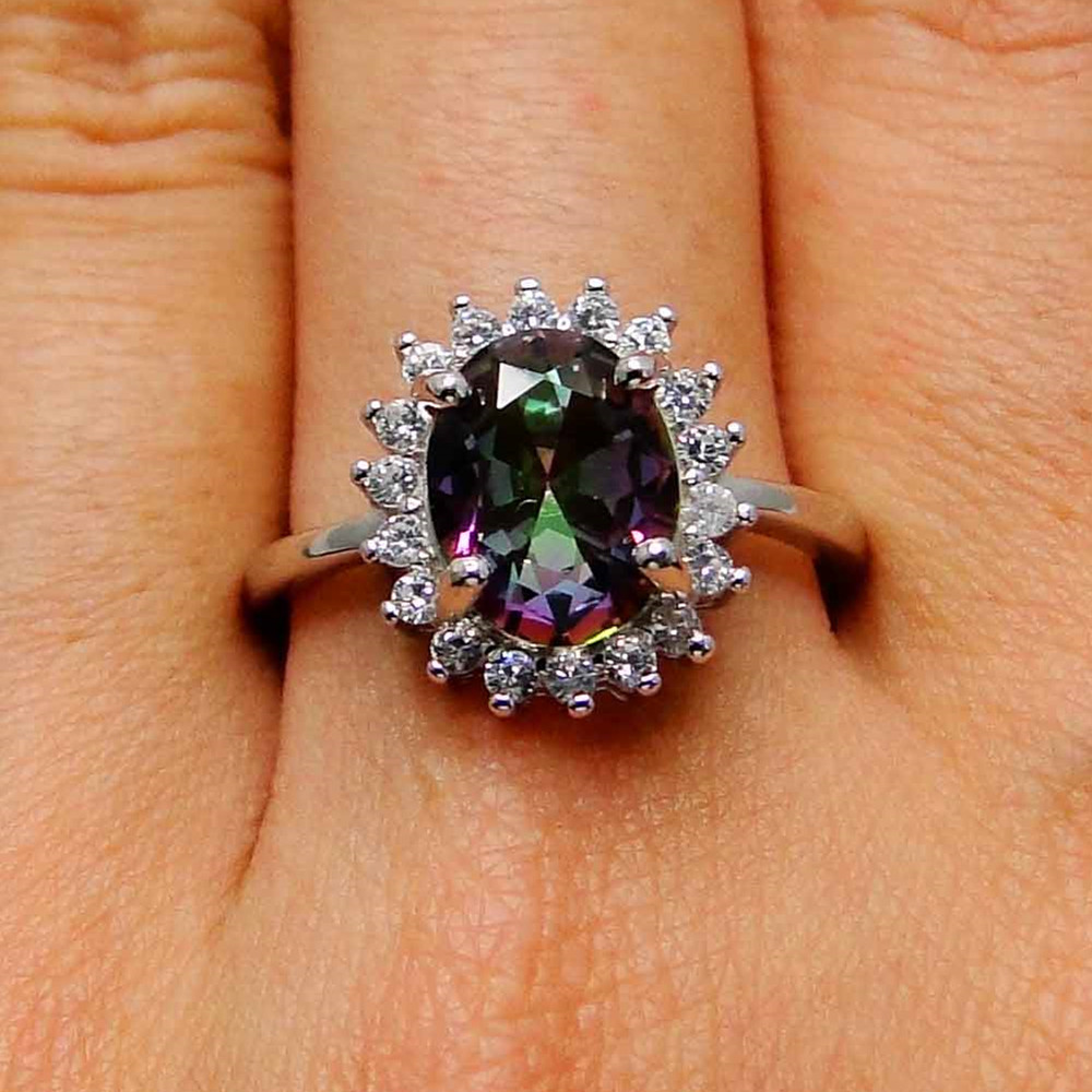 Party Women Accessories Engagement Jewelry Wedding Colorful Stone Topaz Ring