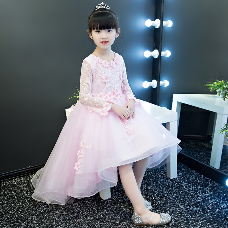 2018 Spring New Children Girls Elegant Sweet Pink Color Princess Birthday Wedding Party Dress Babies Kids Luxury Flowers Dress 2018 spring new children girls elegant fashion pink color flowers princess dress for birthday wedding party baby ball gown dress