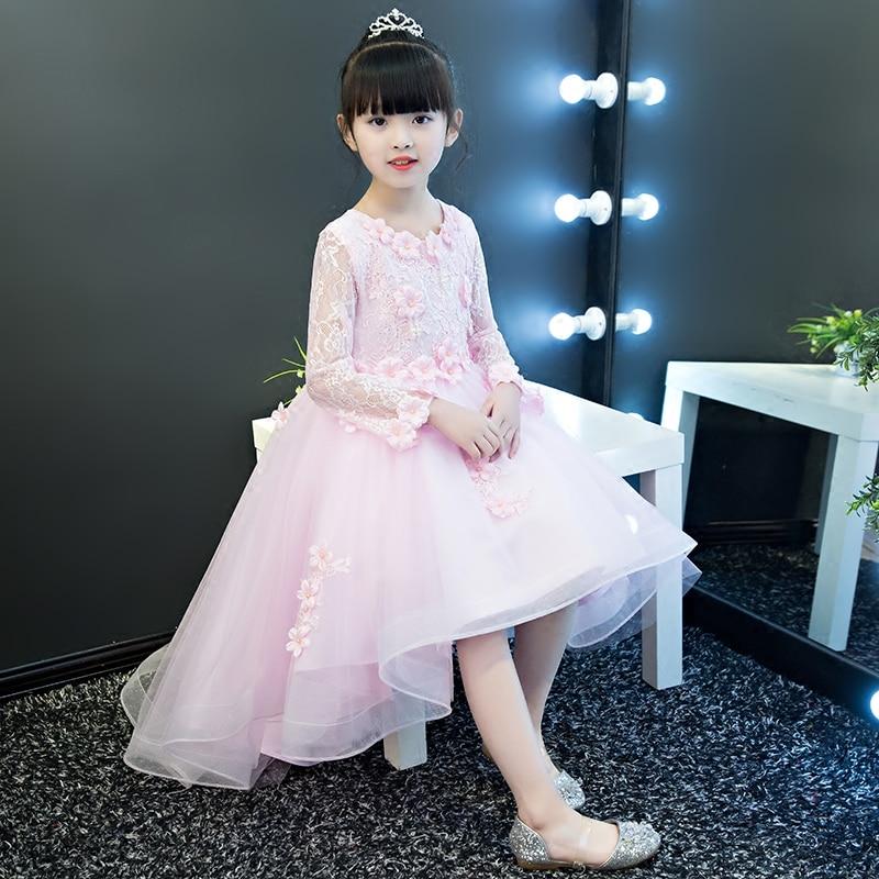 2018 Spring New Children Girls Elegant Sweet Pink Color Princess Birthday Wedding Party Dress Babies Kids Luxury Flowers Dress 2018 new spring baby girls dress pink