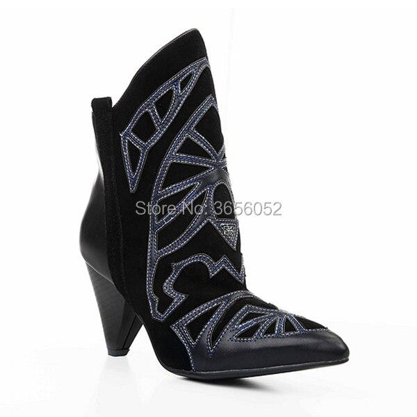 Zapatos Tacón Mujeres Totem Pico Botines as Gamuza Punta Bordado Y Pic Tobillo On Pic Slip Puntiaguda Cuero Negro Qianruiti Botas De As Borgoña dxOwqaaY