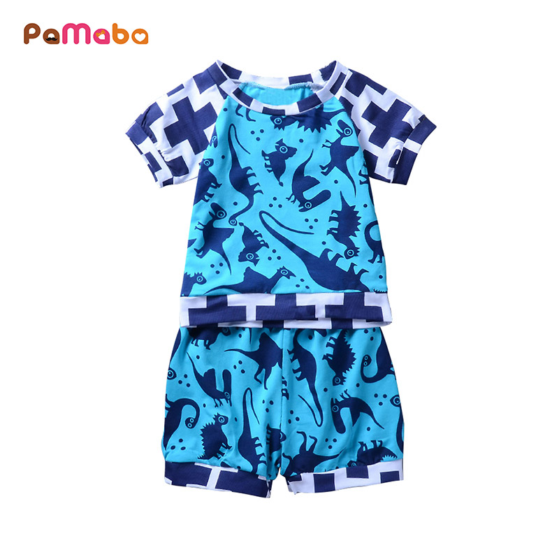 PaMaBa Dinosaur Print Baby Boys Summer Clothes Set Casual Fashion Infant Boys Tops T-shirts and Pants Cotton Toddler Tee Shorts