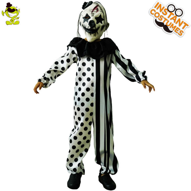 Killer Clown Halloween Costumes For Girls.Halloween Children S Striped Kill Clown Cospaly Party Costumes Kids Jumpsuit Mask Killer Clown Costume