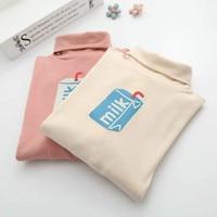 SexeMara 2017 Autumn Winter Girls Japanese Small Turtleneck T Shirts Female Pink Cute Milk Printing T