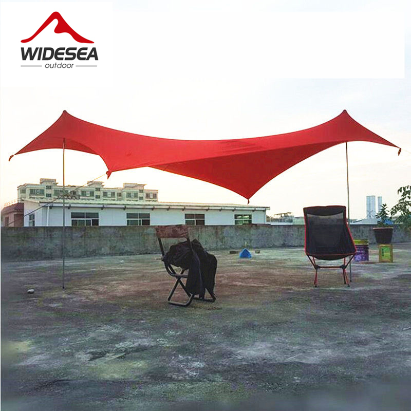 WIDESEA lycra seabeach sun shelter 2.1M*2.1M blue color camping awning beach gazebo 1.8kg 4 sandbags 4 ropes sun canopy tarp crash bar mt 09